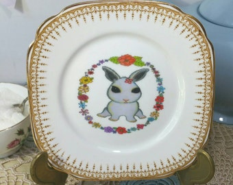 Pretty Decorative Wall Plate with original bunny rabbit illustration. Vintage upcycled side plate. PP007.