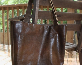 Brown and Gold Leather Tote Bag