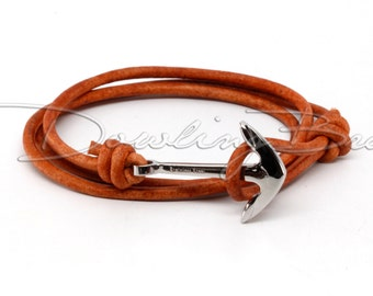 Stainless Steel Anchor Bracelet on Light Brown Leather Cord for Men or Women