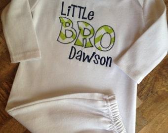 Little Bro applique infant gown