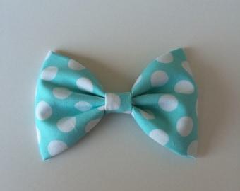 Aqua and white dots bow