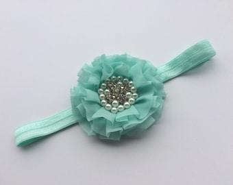 Aqua flower headband pearl rhinestone flower headband flower hair clip
