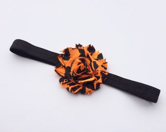 Black and orange stripe shabby headband