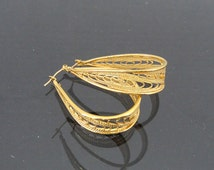 Gold tone Filigree Hoops | Vintage Loop Earrings
