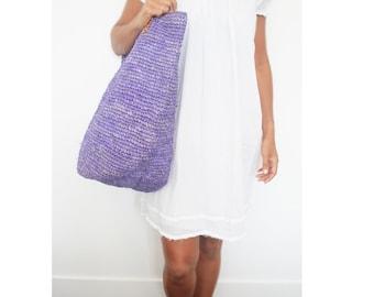 Straw Beach Bag, Lavender Bag