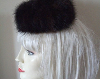 Vintage 1950s Mink Mini Pill Box Hat with Pom Pom - By Mr Charles