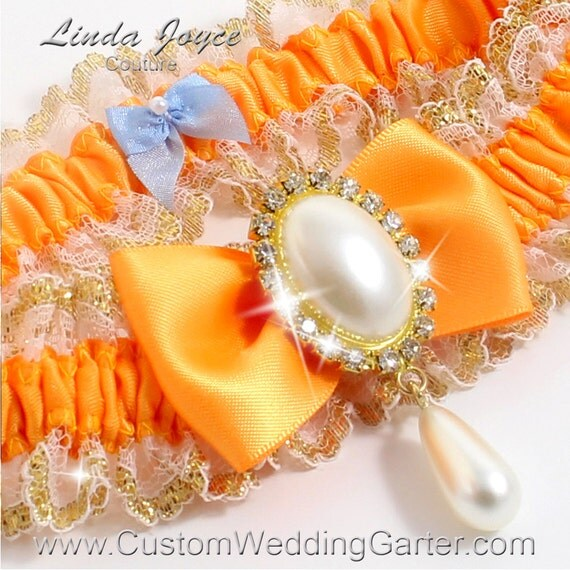 Orange Yellow And Gold WEDDING GARTER Pearl By