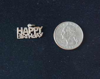 Vintage Happy Birthday Charm Sterling Silver 925