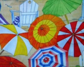 beach umbrellas  Beach Vista--fabric by the yard--Elizabeth's Studio, multi, cotton