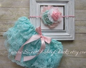 Aqua and Pink...Lace Bloomer Set...Newborn Girl Outfit...Baby Girl 1st Birthday Outfit...Cake Smash Outfit...Cake Smash Girl...Lace Bloomers