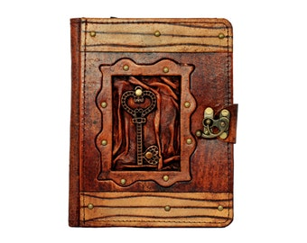 Heart Key Pendant Kindle Fire HD Kindle Keyboard Real Leather Case Cover Vintage Leather Hardcover Wallet Pouch Cases Covers Lock Brown
