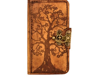 Tree of Life Decoration Samsung Galaxy S4 i9500 Phone Case Cover Real Vintage Genuine Leather Wallet Hard cover Card Holder Side Flip Cases
