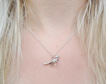 T-Rex Brontosaurus Diplodocus Dinosaur Jurassic Park Pendant Silver Necklace Jewellery Jewelry