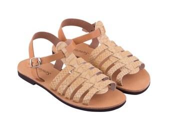 AMMOS,gladiator beige python leather sandals