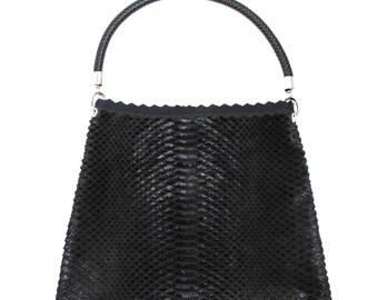 Black Cowhide Leather Large Shoulder bag