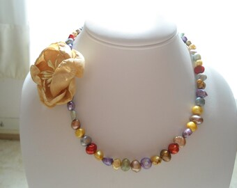 Lovely summer rose asymmetrical multicolor cultured and dyed pearl choker Vintaj brand antique brass necklace