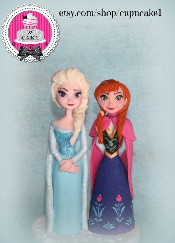 Elsa Cake Topper Decorations : Frozen Anna and Elsa fondant cake toppers