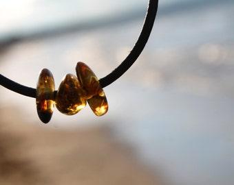 Men's Natural Amber Leather Bracelet, Surf Beach Bracelet, Gifts for Him Handmade Man Surfer Jewelry Ocean Inspired Sun