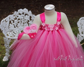 Pink Tutu Dress-Flower Girl Dress-Valentines Tutu