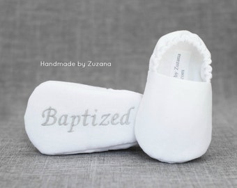 WHITE Christening shoes for boys, Personalized baptism shoes, baby boy shoes, fabric shoes, white baby boy shoes