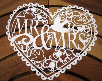 Mrs & Mrs/Mr and Mr/ Mrs and Mrs Papercut Template download (PDF, Jpeg)