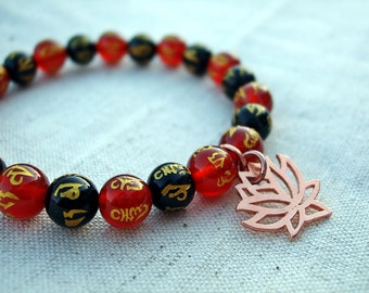 Copper Lotus Charm Om Mantra Bracelet, Black and Red Agate with Gold Mantra Symbols, Elasticated