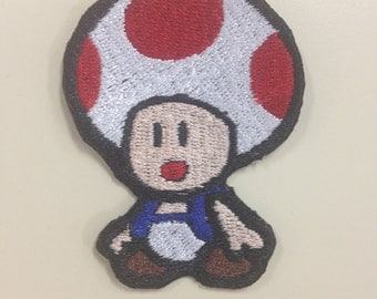 Gamer Embroidery Patches, Toad Patch, Mario Patch, Video Game Embroidered Patches, Geeky Iron On Patches
