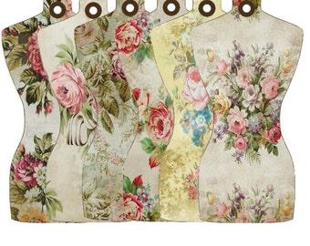 Digital Floral Mannequin Tags,  Floral Dressform Digital Tags, Digital Sewing tags, Vintage Wallpaper Printable Tags