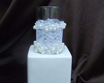 Elegant wedding centerpiece, lace and pearls centerpiece, lace vase, lace and pearl candle holder, pearl wedding decor, lace vase