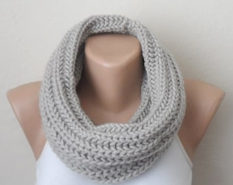 gray knit infinity scarf gray circle scarf winter scarf wrap shawls loop scarf