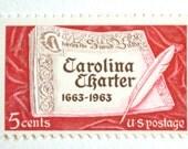 10 Unused Carolina Postage Stamps // Red Vintage 1963 5c Stamps // South Carolina // North Carolina