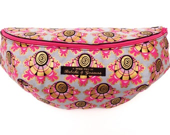 Butchi & Gosmos 'Orchid' Bumbag / Fanny pack / Hip bag in cool grey with a Hot pink and Gold print detail