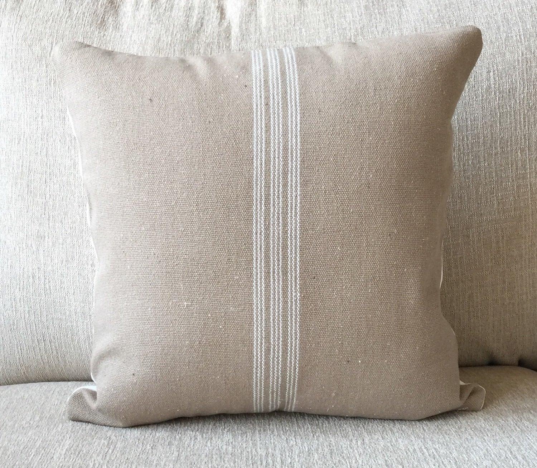 Decorative pillow throw pillow farmhouse grainsack feed