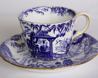 Royal Crown Derby Blue Mikado Teacup and Saucer