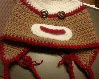 Crochet Monkey Ear Flap Hat