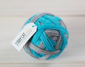 BLUE MOON - vibrant hand dyed self striping sock yarn