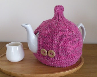 Pink hand knitted tea cosy with wooden button detail - Size 10 cup (1.7 Litre) teapot - READY to SHIP