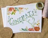 Watercolor Congratulations Card/ Celebration Card/ Floral Congrats Card- 5x7