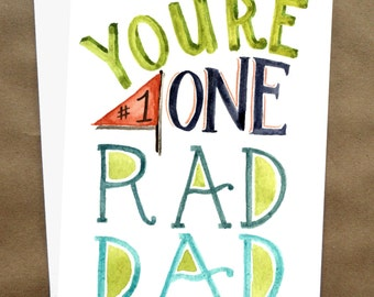 Printable Father's Day Card/ Card for Dad/ Happy Father's Day Card/ Rad Dad- 5x7