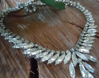Wedding Necklace, Rhinestone, Vintage Choker Necklace