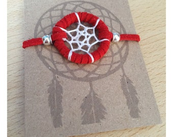 Dream catcher bracelet, red trim, white web - dreamcatcher hand made
