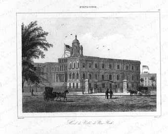 Original Antique Print of Hotel De Ville De New York- Black and white small folio -  dated 1840-1845 - Gorgeous Building