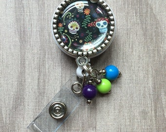 Day of the Dead Skulls ID Badge Holder Lanyard