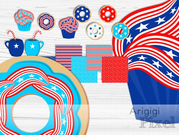 patriotic digital paper and clip art set , muffin clipart, donut clip art, blue, red, white colors, commercial use, instant download