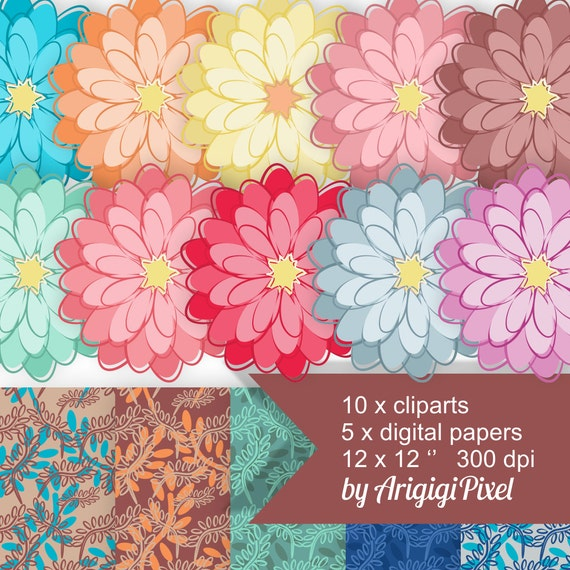 dahlia clip art, dahlia flowers clipart, botanical papers, summer colors, digital, scrapbooking, download small commercial use