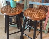 Industrial Stools, Wooden Stools, Pair of Stools, Herringbone, Rustic, Painted Stools, Kitchen Stools, Bar Stools