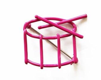 Pink Enamel Drum Brooch, Pink Drum Pin, Enamel Drum Brooch