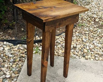 Unique Primtiques Reclaimed Wood Dark Walnut Stained End Corner Entry  ACCENT Table 14 1/