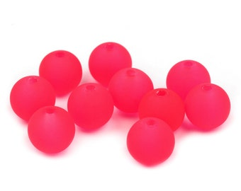 150 plastic beads, neon pink, 10mm