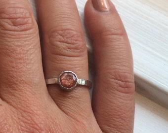 1.5ct Platinum Sunstone Engagement Ring- Hammered SunstonePlatinum Engagement Ring- Platinum Sunstone Ring